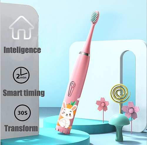 Children Electric Toothbrush Cartoon Pattern Sonic Cleaning IPX7 Waterproof Replacement Brush Heads USB Charger Smart Timer