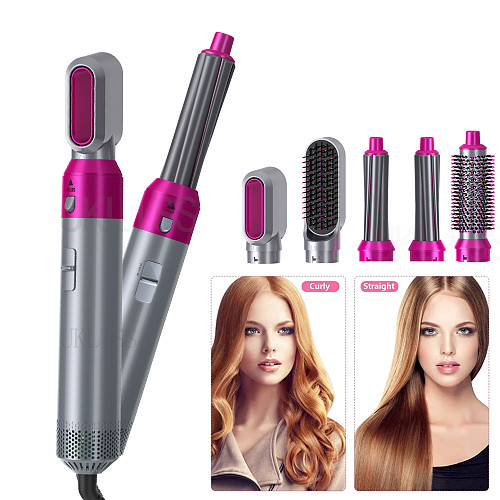 Hair Dryer Brush 5 In 1 Electric Blow Dryer Comb Hair Curling Wand Detachable Brush Kit Negative Ion Straightener Hair Curler