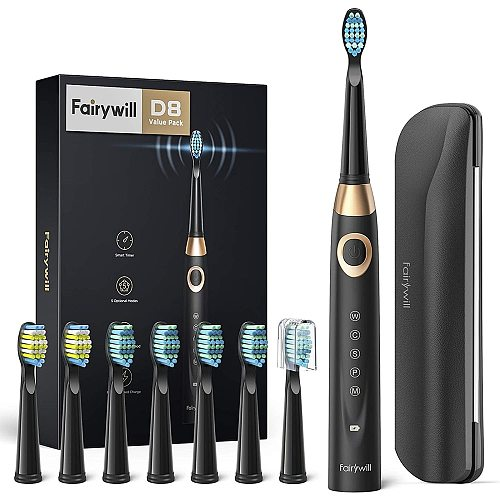 Fairywill Electric Sonic Toothbrush 5 Modes Replacement Heads Waterproof Travel Case Powerful Cleaning Soft Heads Toothbrush Set