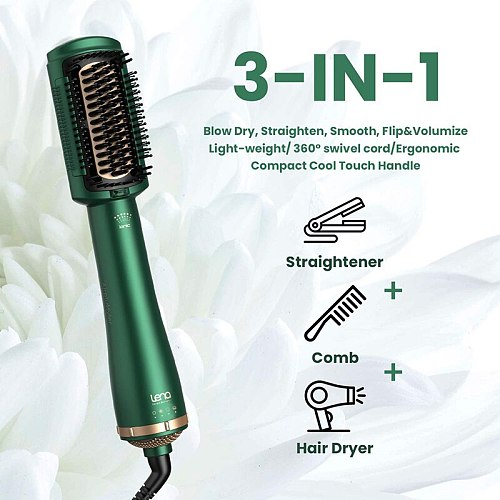 Lena F2 Negative Ion Heating Comb 2 in 1 Hair Dryer Brush Hot Comb Curling Hair Straightening Brush Salon Barber Styling Tool