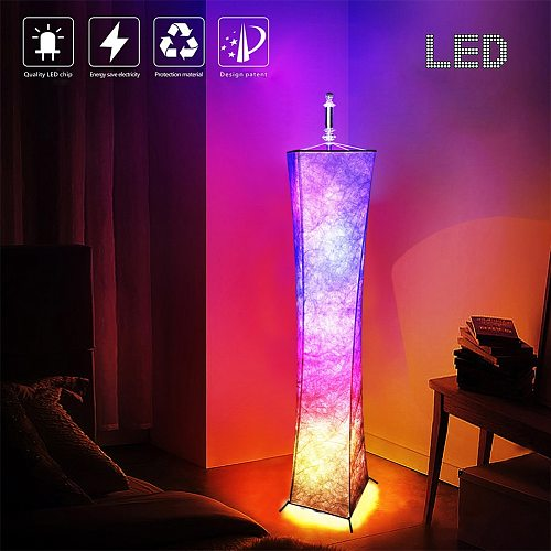 RGB Color Changing Atmosphere Modern LED Floor Lamp Home Decor With Remote Control Hotel Slim Waist Fabric Shade Living Room