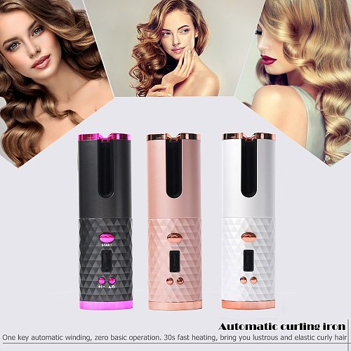 Hot USB Rechargeable Auto Ceramic Curling Iron Waver Hair Curler LED Display Curling Roller Wave Automatic Rotating Hair Styling