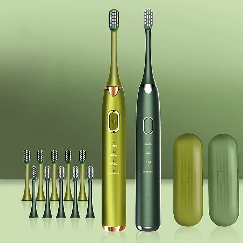 Ultrasonic Electric Toothbrush BS-201 Adult Timer Brush 4 Mode USB Charger Rechargeable IPX8 Tooth Brushes Replacement Heads Set