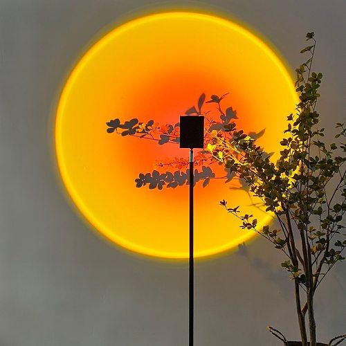 Nordic LED Sunset Floor Lamp Indoor Decor Atmosphere Stand Lamp Bedroom Living Room Colorful Club Floor Light Standing Lighting