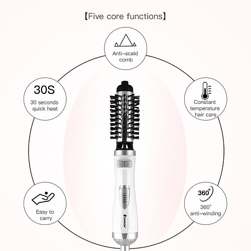 Professional Electric Volumizer Hair Curler Hot Air Hair Dryer Salon Straightener Rotating One Step Heat Air Comb Styling Brush