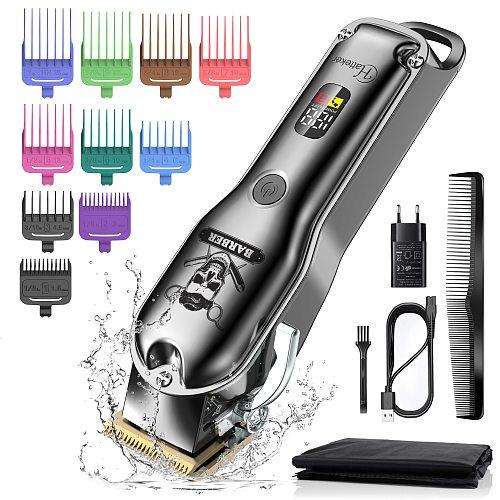 HATTEKER Hair Clipper Mens Beard Trimmer ProfessionalCordless RechargeableHair Cutter Kit Barber Shop Strong Power