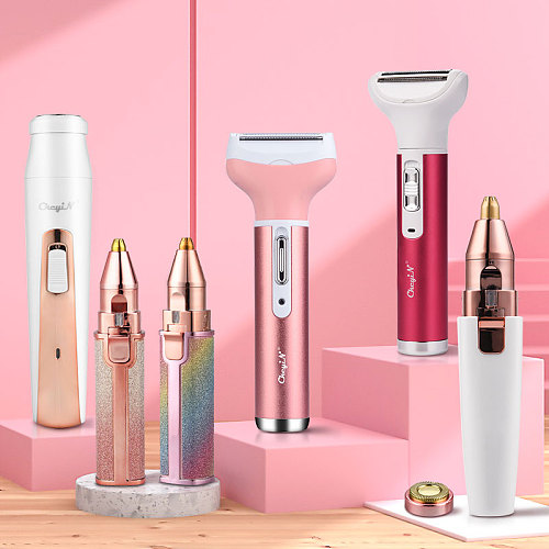 2 In 1 Electric eyebrow trimmer USB Rechargeable hair remover women shaver  LED light lady Epilator Razor face Makeup Tool