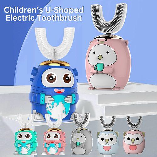 Smart 360 Degress U Sonic Electric Toothbrush Kids Silicone Automatic Ultrasonic Tooth Brush Children Blue Light Teeth Brush