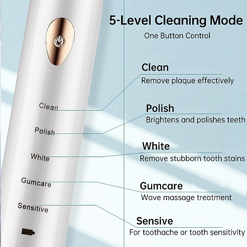 5 Mode Smart Electric Toothbrush Automatic Ultrasonic Sonic Tooth Brush Adult IPX7 Waterproof USB Rechargeable Teeth Brush