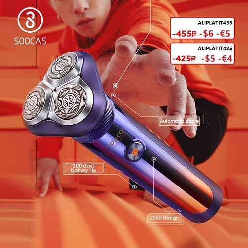 SOOCAS S31 Smart Electric Shaver Auto-shave Razor Man Shaving Machine Electric Shavers Trimmer Beard Type-C Rechargeable IPX7