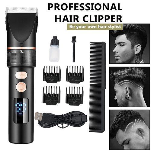 Electric Hair Clipper Rechargeable Hair Trimmer Titanium Ceramic Blade Salon Men Hair Cutting Barber Machine LCD Display