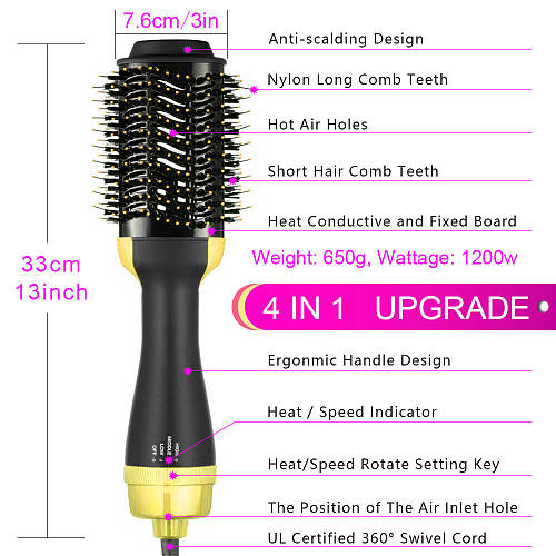 Hair Curler Volumizer Salon Hot Heat Air Comb Paddle Styler Brush Negative Iron Generator 3 4 in 1 Straightener Blow Dryer Tools