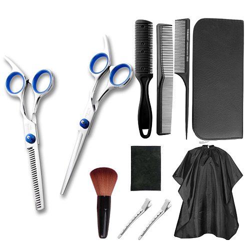 Professional Hairdressing Scissors Kit Hair Cutting Scissors Barber Salon Hairdresser Tool Tail comb Cape Hair Cutter Comb Set