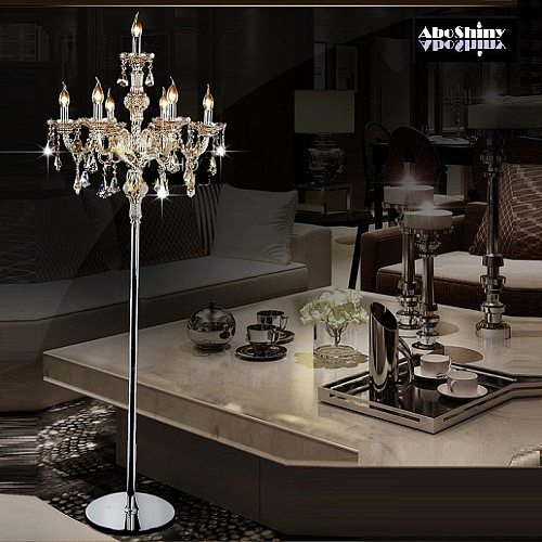 Fashion modern crystal Floor  lamp living room lights bedroom lamps crystal French Modern stand Lights Crystal Abajur cristal