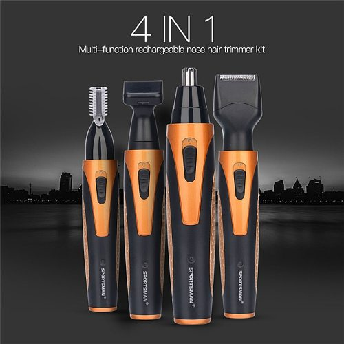 4 in 1 Portable Rechargeable Nose Ear Hair Trimmer Set Wireless Men Cutter Beard Shaver Face Eyebrow Nose Hair Removal Device