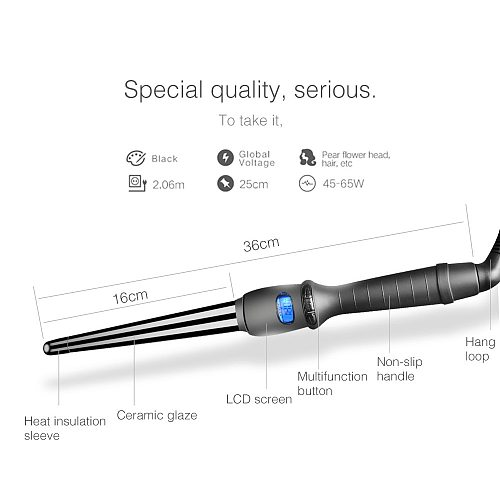 LCD  curlers conical curling iron single tube ceramic glaze pear flower cone electric hair curly hair