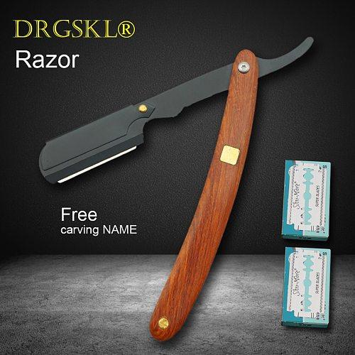 Manual Redwood Handle Shaving Razor Men's Razor High Quality Professional Barber Hair Cut Razor Change Blade Type Shaving Knife