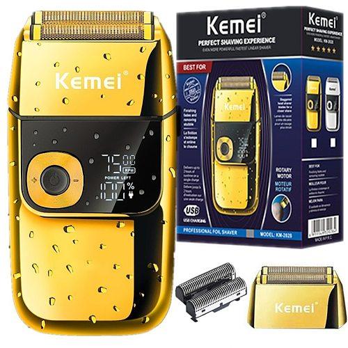 Original kemei barber professional beard hair shaver for men electric shaver rechargeable electric razor balds shaving machine