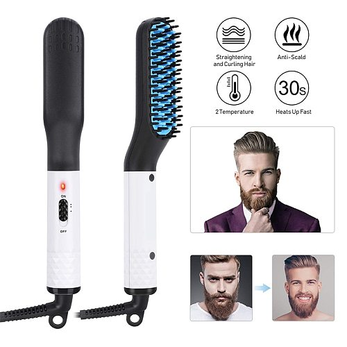 3 in 1 Multifunctional Hair Straightener Hair Comb Brush Beard Straightener Straightening Comb Hair Curler Quick Hair Styler