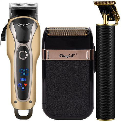 Professional Hair Clipper Men Barber Rechargeable T Blade Cutting Machine Beard Trimmer Electric Shaver Cordless Hair Cutter 5