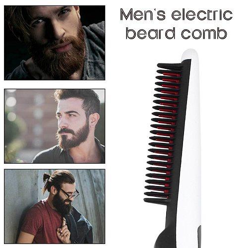 Multifunctional Hair Comb Brush Beard Straightener Hair Straighten Electric Beard Straightening Comb Quick Hair Styler For Men