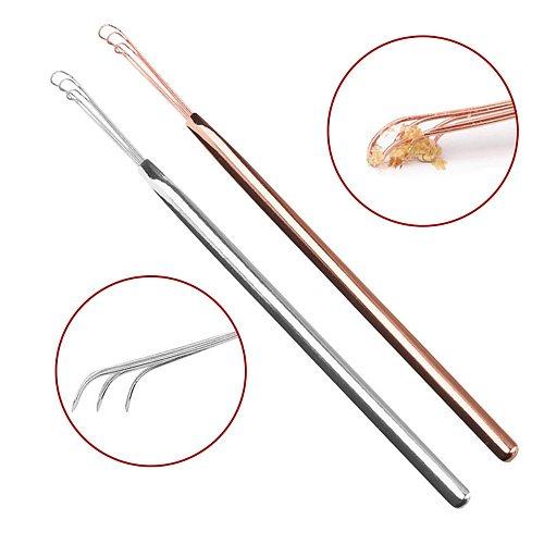 3-Fork Silver Earpick Ear Cleaning Stick Stainless Steel Ear Pick Ear Wax Removal Curette Cleaner Health Care Ear Spoon Tools