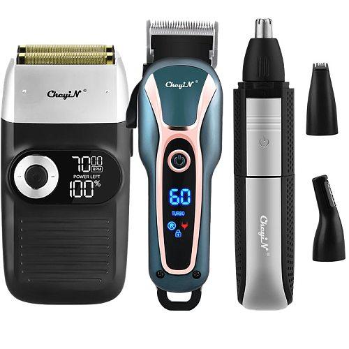 2 In 1 Electric Shaver Baldheaded Beard Trimmer Reciprocating Twin Blade Shaving Lcd Dispaly Razor 3 Speeds Adjustable Beard Men