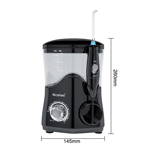 Nicefeel Oral Irrigator  Water Pulse Flosser Dental Jet Teeth Cleaner Hydro Jet With 600ml Water Tank and 7Nozzle Tooth Care
