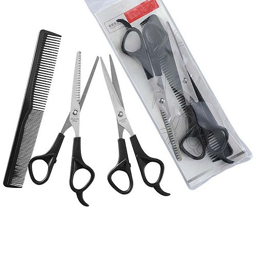 Household Hairdressing Scissors Thinning Shears Hair Cutting Barber Scissors Flat Tooth Scissor Comb 3pcs Set Hair Styling Tools