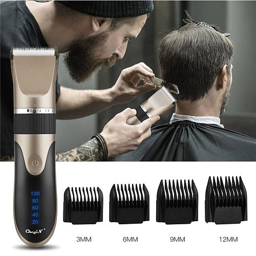 Professional Hair Clipper Men's Barber Beard Trimmer Rechargeable Hair Cutting Machine Ceramic Blade Low Noise Adult Kid Haircut