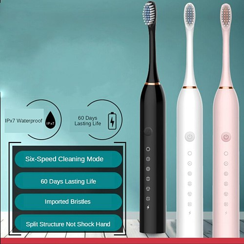 Sonic Electric Toothbrush Ultrasonic Automatic USB Rechargeable IPX7 Waterproof Whitening Teeth Tooth Brush Head Holder Adult