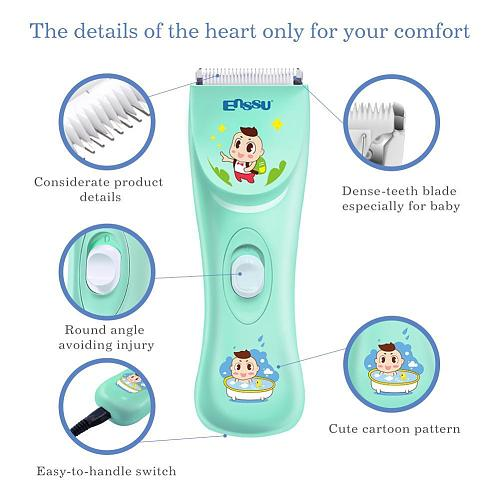 Enssu Baby Hair Trimmer Professional Hair Removal Kit Rank IPX-7 Waterprooffor Children with Safe Ceramic Blade