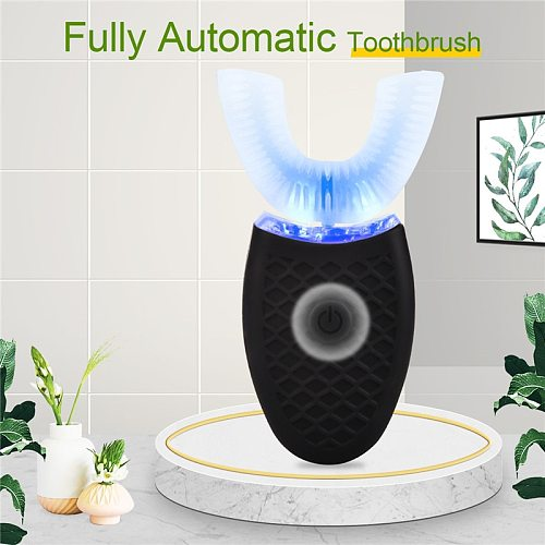 U Shaped Automatic Electric Toothbrush Ultrasonic Wave Nano Teeth Cleaner Waterproof Adult Silicone Toothbrush with Blue Light