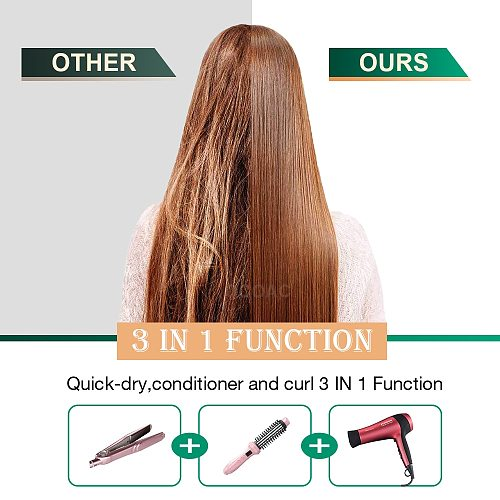 3 in1 Hot-Air Brushes Detachable Electric Hair Dryer Brush For Hair Curling Straightening Negative Ion Hot Air Comb Hair Styler
