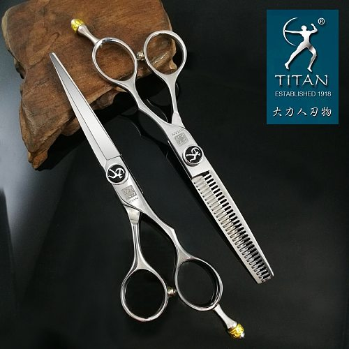 free shipping Professional hair scissors  TITAN   6.0inch barber scissors