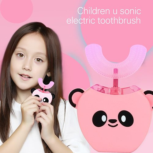 Kids Brush  Smart U 360° Automatic Sonic Electric Toothbrush for Kids USB Children Ultrasonic Mouthpiece Toothpaste