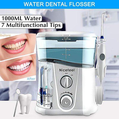 Nicefeel 1000ml Electric Oral Irrigator Teeth Cleaner Care Dental Flosser SPA Water Flosser with Adjustable Pressure+ 7 Pcs Jet