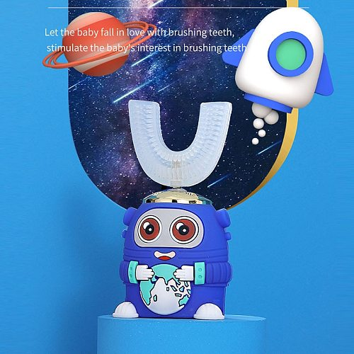 Intelligent 360-Degree Electric u-Shaped Toothbrushes for Children Contain Automatic Ultrasonic Teeth Ceaning and Whitening Car
