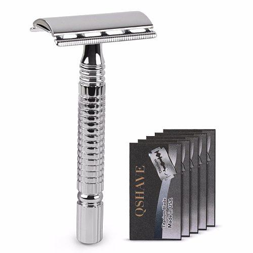 Qshave Short Handle Classic Safety Razor Double Edge Mens Shaving Razor Gift Box Pack Cure Handle, 1 Razor & 5 blades