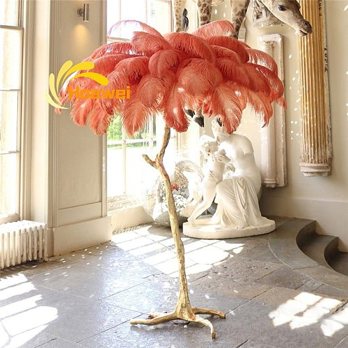 Nordic LED Floor Lamps For Living Room Bedroom Decoration Art Ostrich Feather Lamp All Copper Standing Lamp Home Indoor Lighting