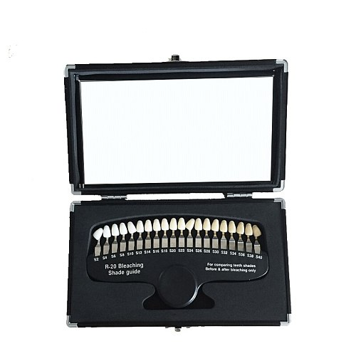 20 Colors Teeth Whitening set 3D Shade Guide Color Comparator Mirror Dentistry Cold Light Teeth White Bleaching Dental Plate