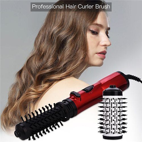 2 in 1 Professional Hair Curling Wand Brush Tourmaline Ceramic Hot Air Brush Blow Dryer Hair Curling Roller Wet Dry Dual Use 31