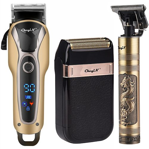 Professional Barber Hair Clipper Rechargeable Electric T-Outliner Finish Cutting Machine Beard Trimmer Shaver Cordless Corded
