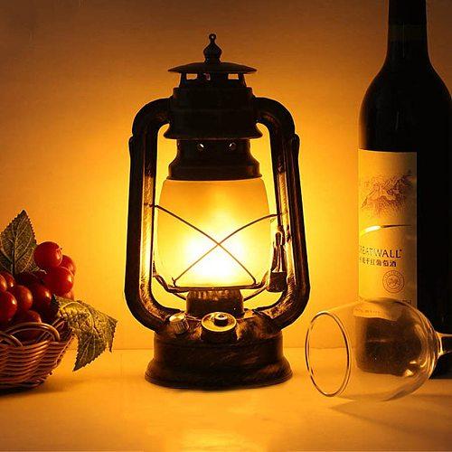 Thrisdar Rechargeable Dimmable Vintage Kerosene Lantern Table Lamps With Flame Effect Lamps Bar Cafe Restuarant Kerosene Light
