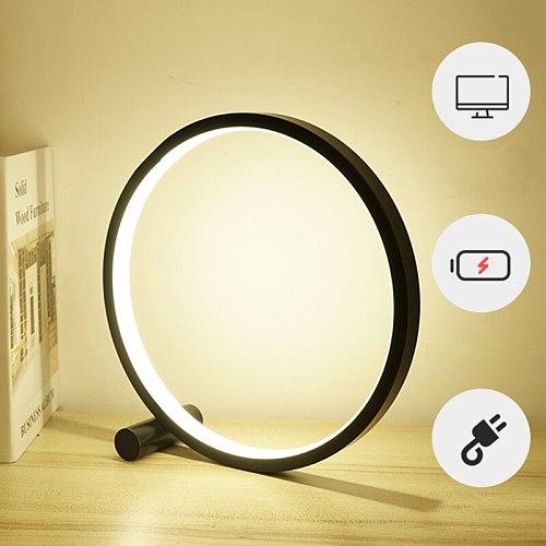 1Pc Modern Round LED Desk Lamp Simple Bedroom USB Reading Table Decorative Night Light Home Decor