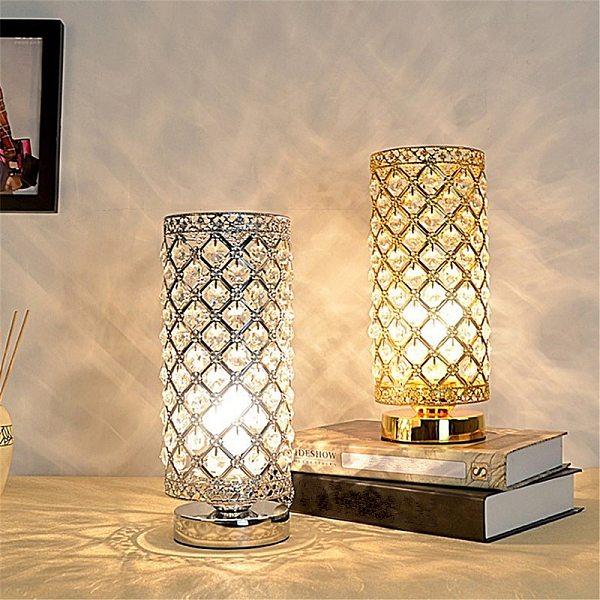 Modern LED Crystal Desk Table Lamp E27 Adjustable Bedside Nightstand Light Home Decoration Indoor Lighting