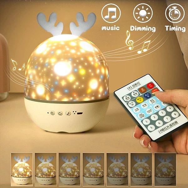 Bedside Lamp with Bluetooth Speaker Kids Bedroom Night Table Lamp USB Rechargeable Sky Projection Night Lights Birthday Gifts