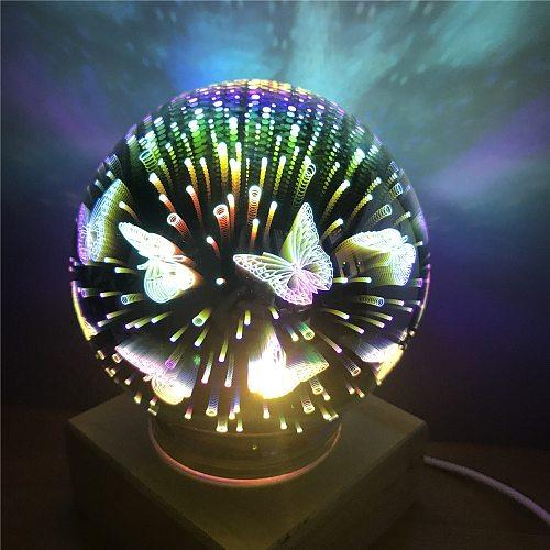 3d Led Night Light Usb Transparent Glass Ball Night Light Magic Colorful Firework Light Solid Wood Base Festival Atmosphere Lamp