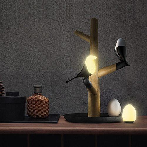 GZMJ Chinese Style Lucky Bird LED Night Table Lamp Wood Base  Intelligent Motion Sensor Luminaria Living Room Bedroom Desk Light