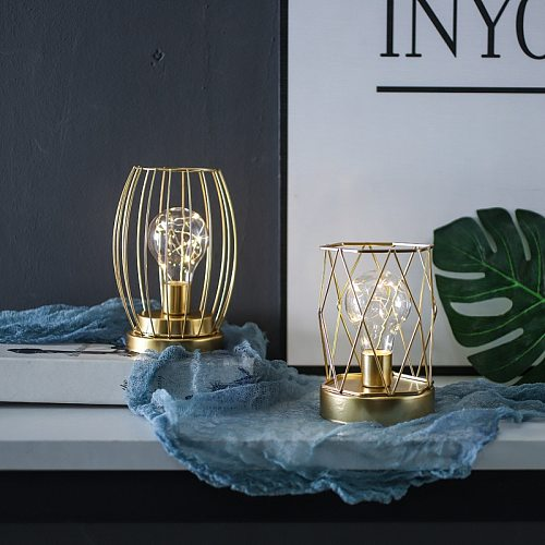 Nordic Geometric Bulb Table Lamp Wedding Party Bedside Decorative Candlestick Night Light